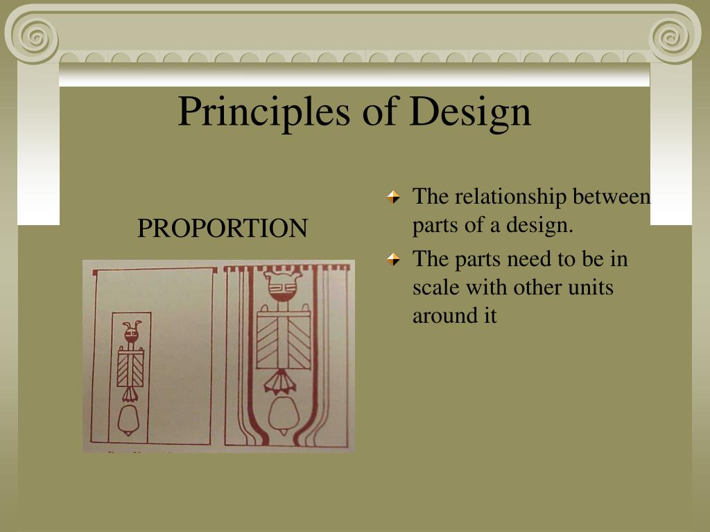 The relationship between parts of a design.
