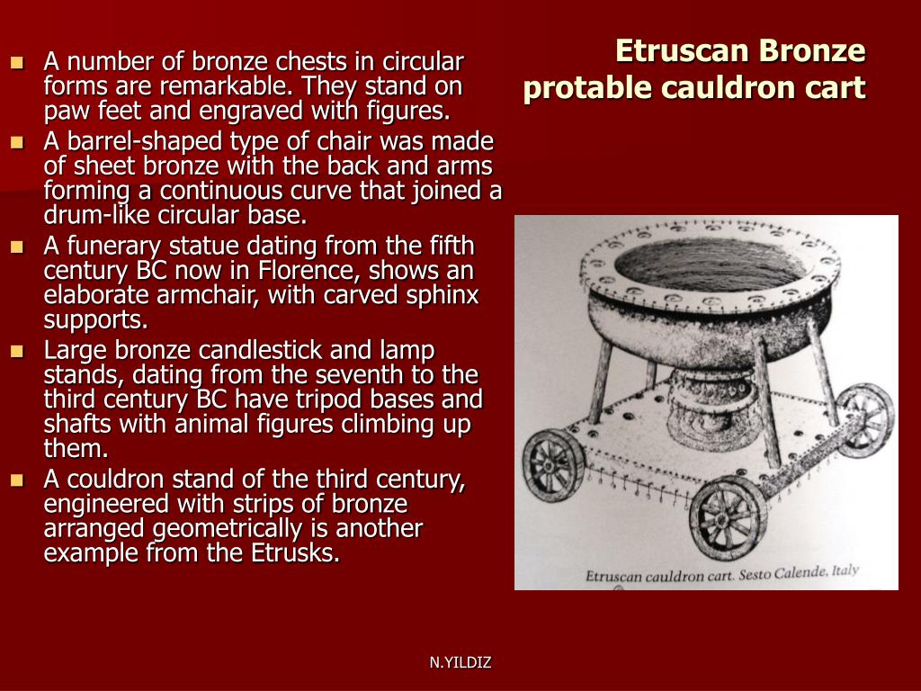 Etruscan Bronze protable cauldron cart