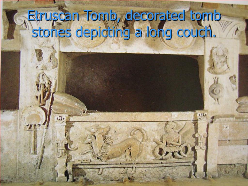Etruscan Tomb, decorated tomb stones