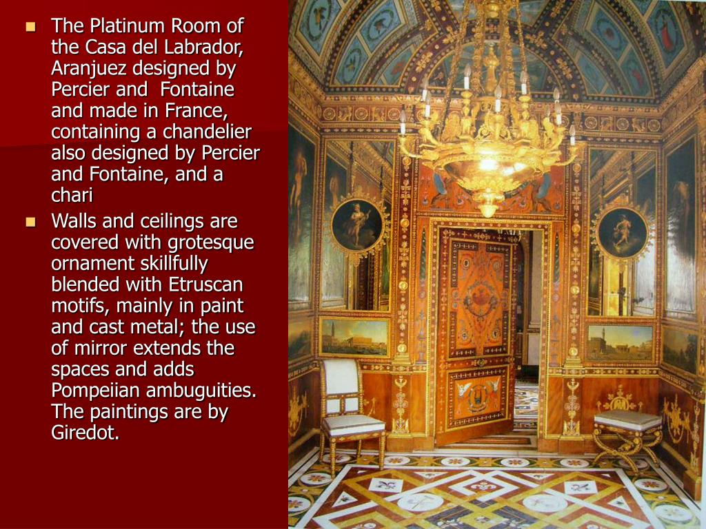 The Platinum Room of the Casa del Labrador, Aranjuez designed by Percier and  Fontaine and made in France, containing a chandelier also designed by Percier and Fontaine, and a chari