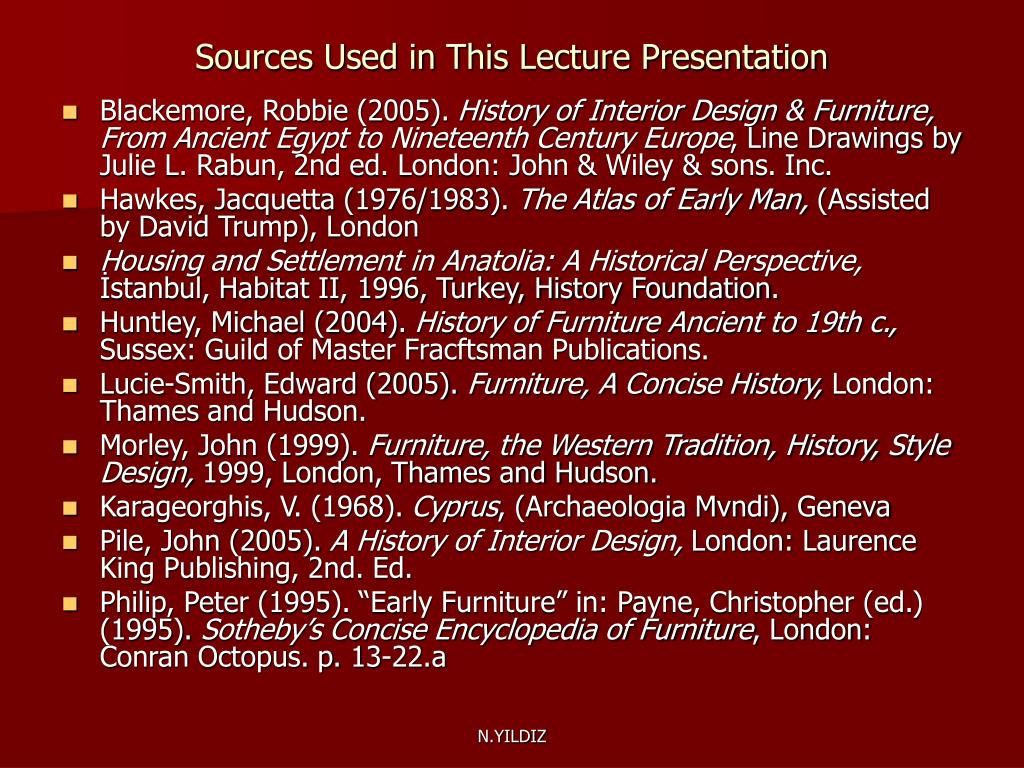 Sources Used in This Lecture Presentation