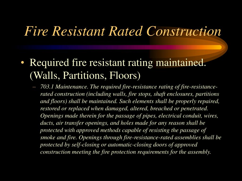 Fire Resistant Rated Construction