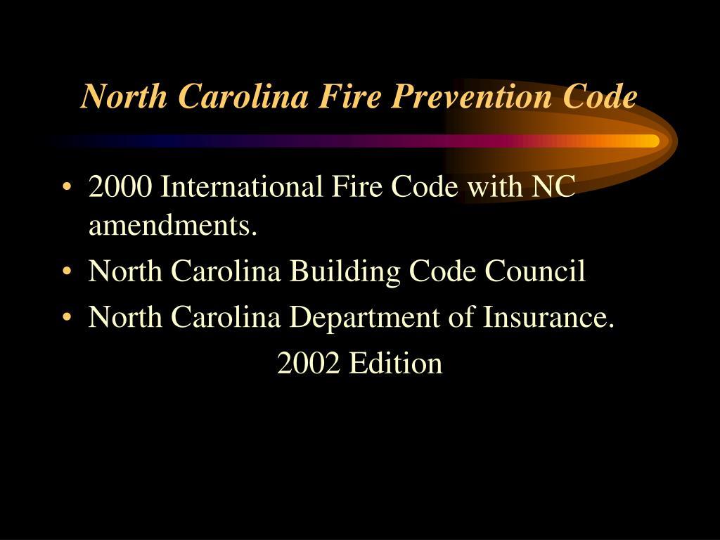 North Carolina Fire Prevention Code