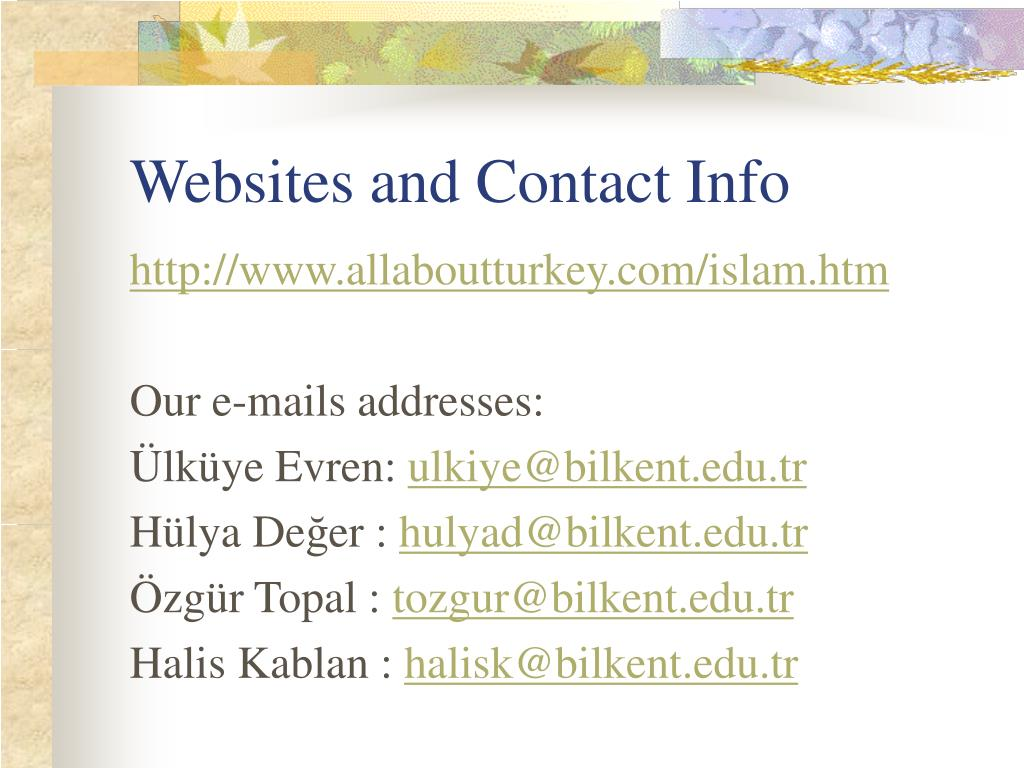 Websites and Contact Info