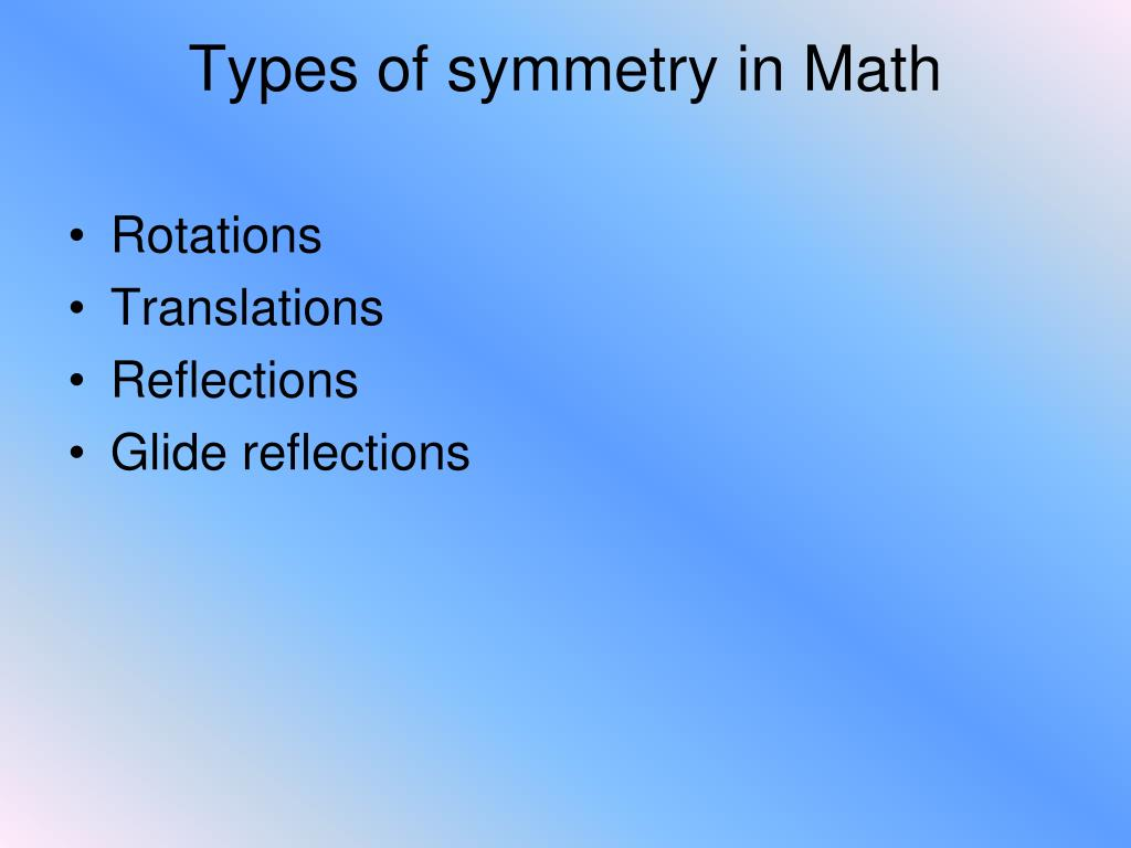 Types of symmetry in Math