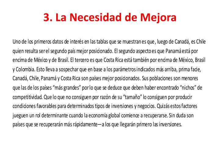 3. La Necesidad de Mejora