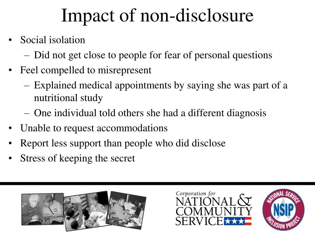 Impact of non-disclosure