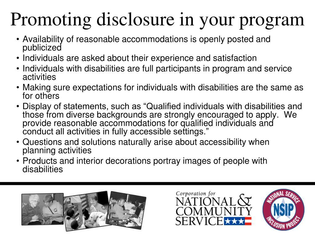 Promoting disclosure in your program