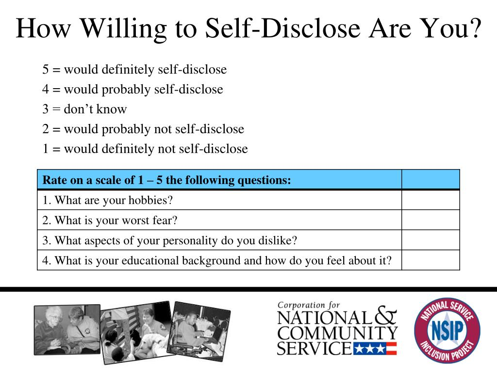 How Willing to Self-Disclose Are You?