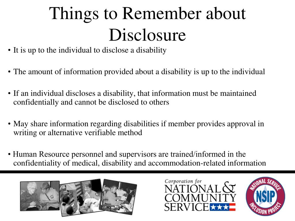 Things to Remember about Disclosure