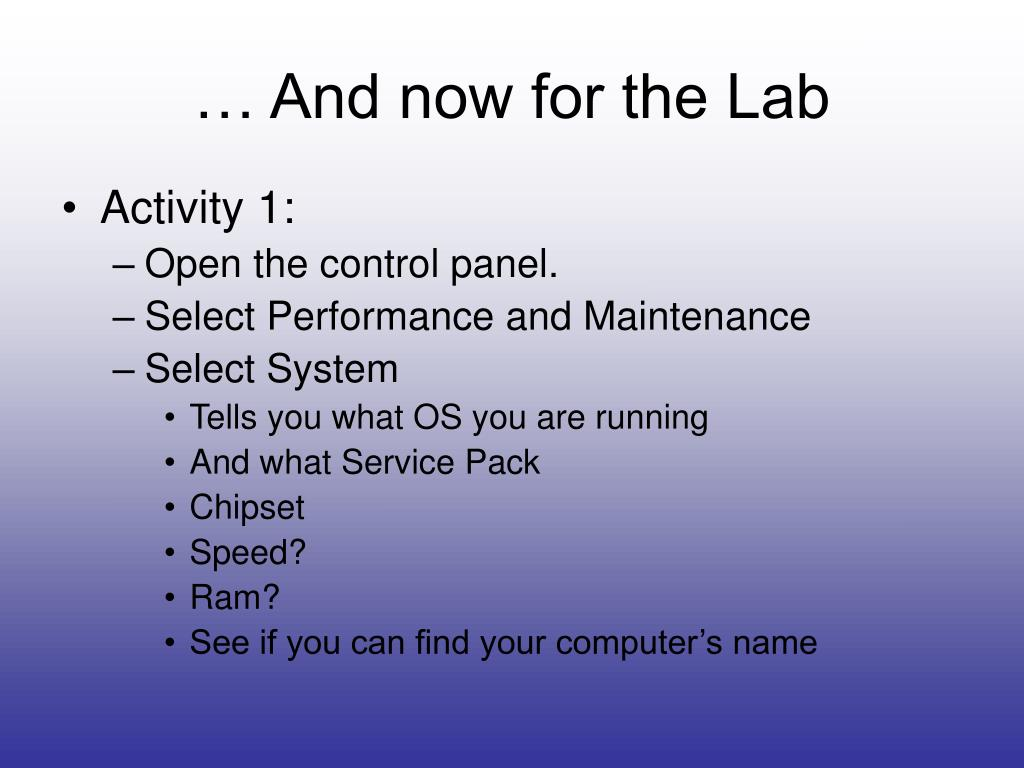 … And now for the Lab