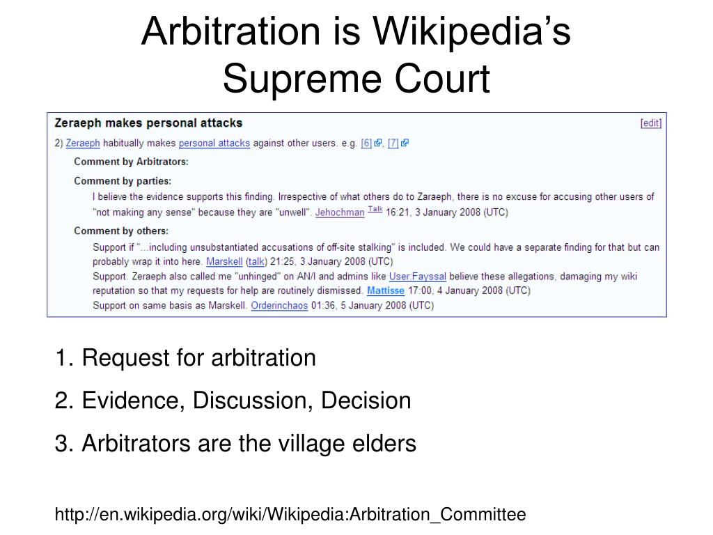 Arbitration is Wikipedia's