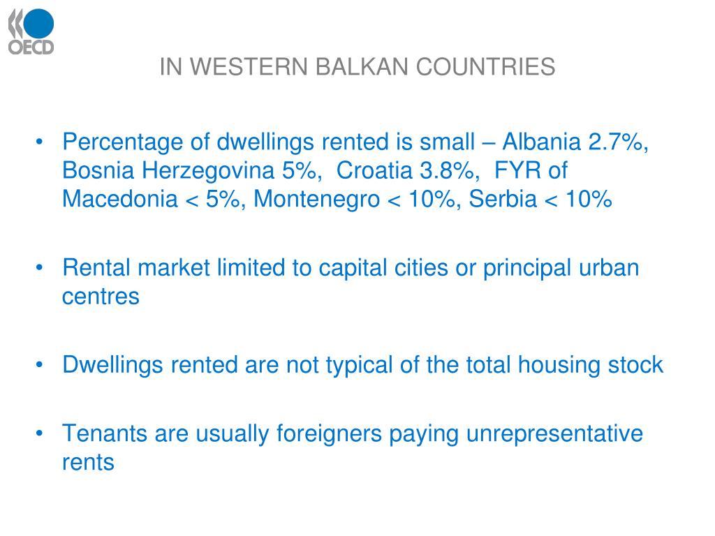 IN WESTERN BALKAN COUNTRIES