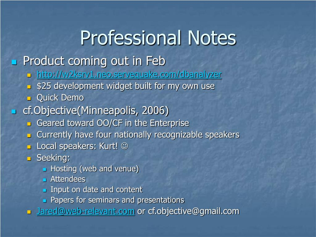 Professional Notes