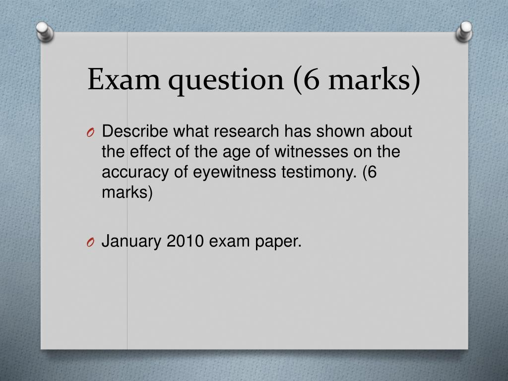 Exam question (6 marks)