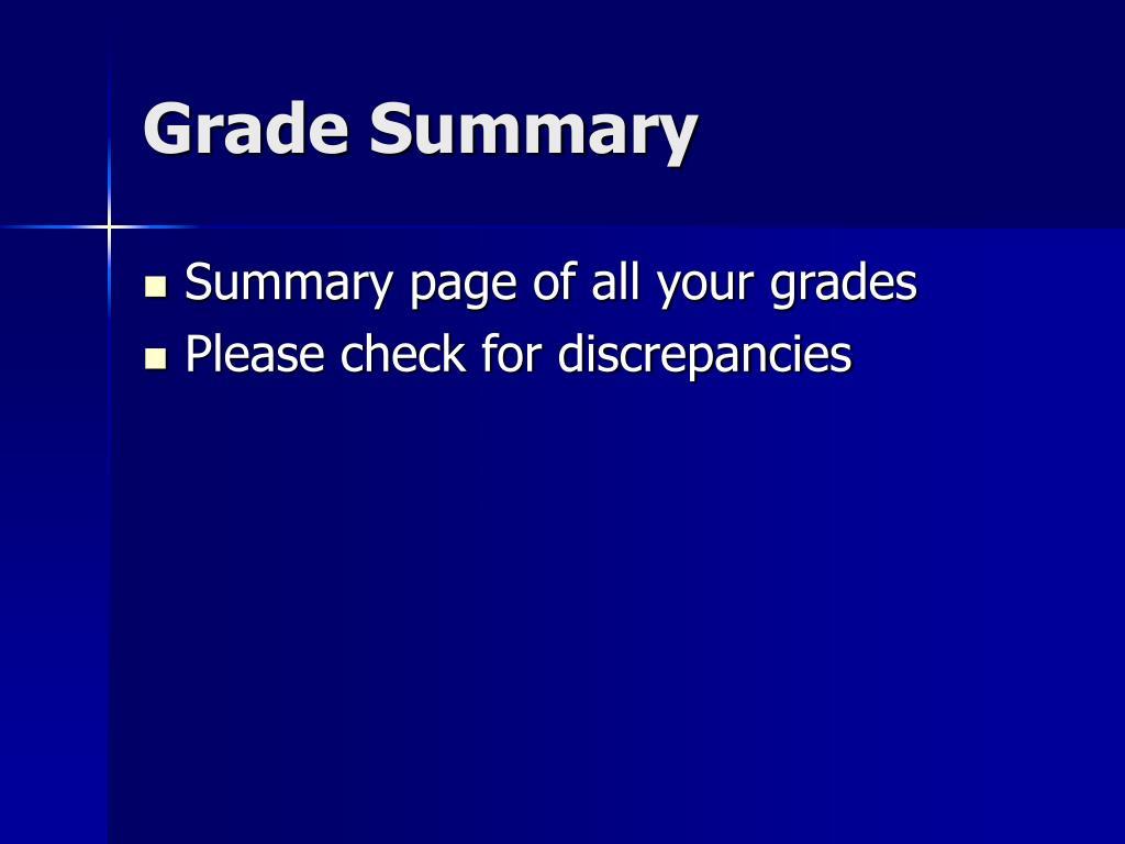 Grade Summary