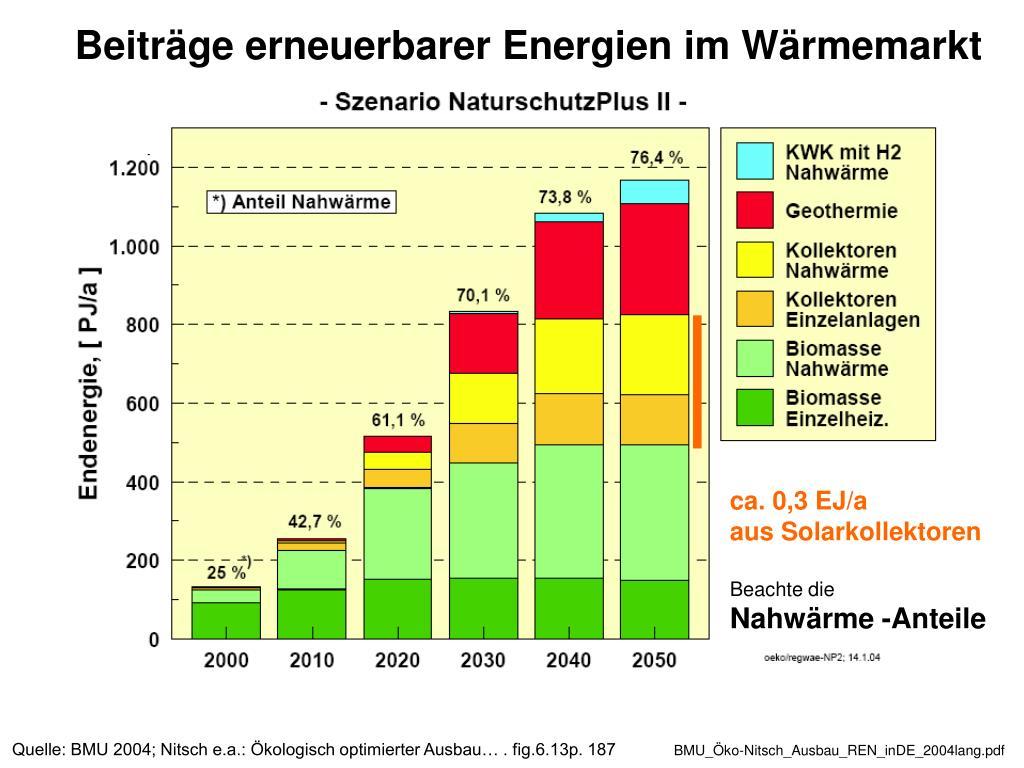 Beiträge erneuerbarer Energien im Wärmemarkt