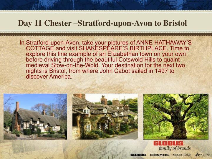Day 11 Chester –Stratford-upon-Avon to Bristol