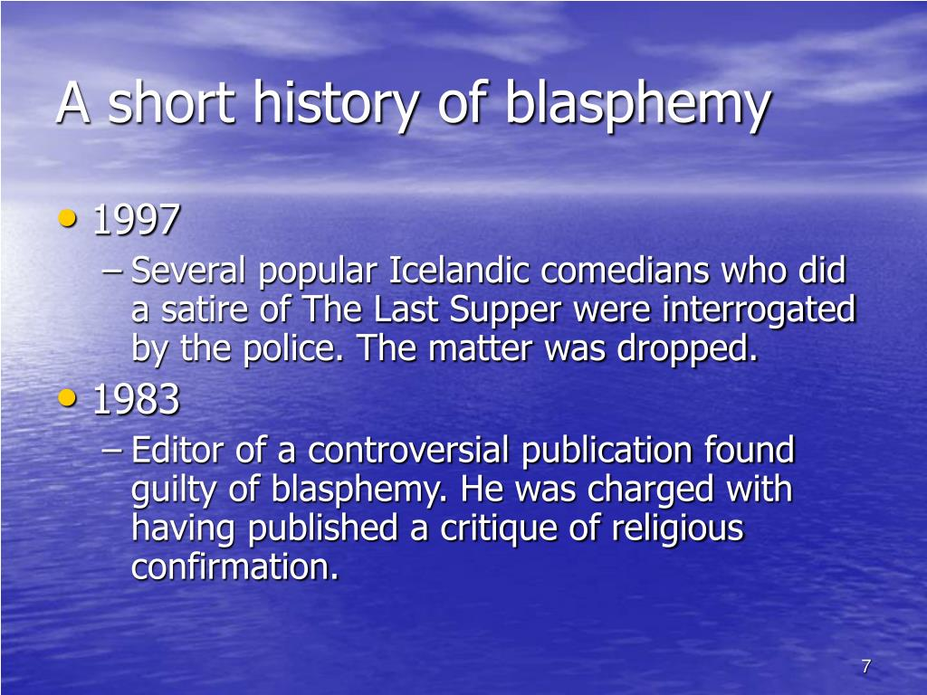 A short history of blasphemy