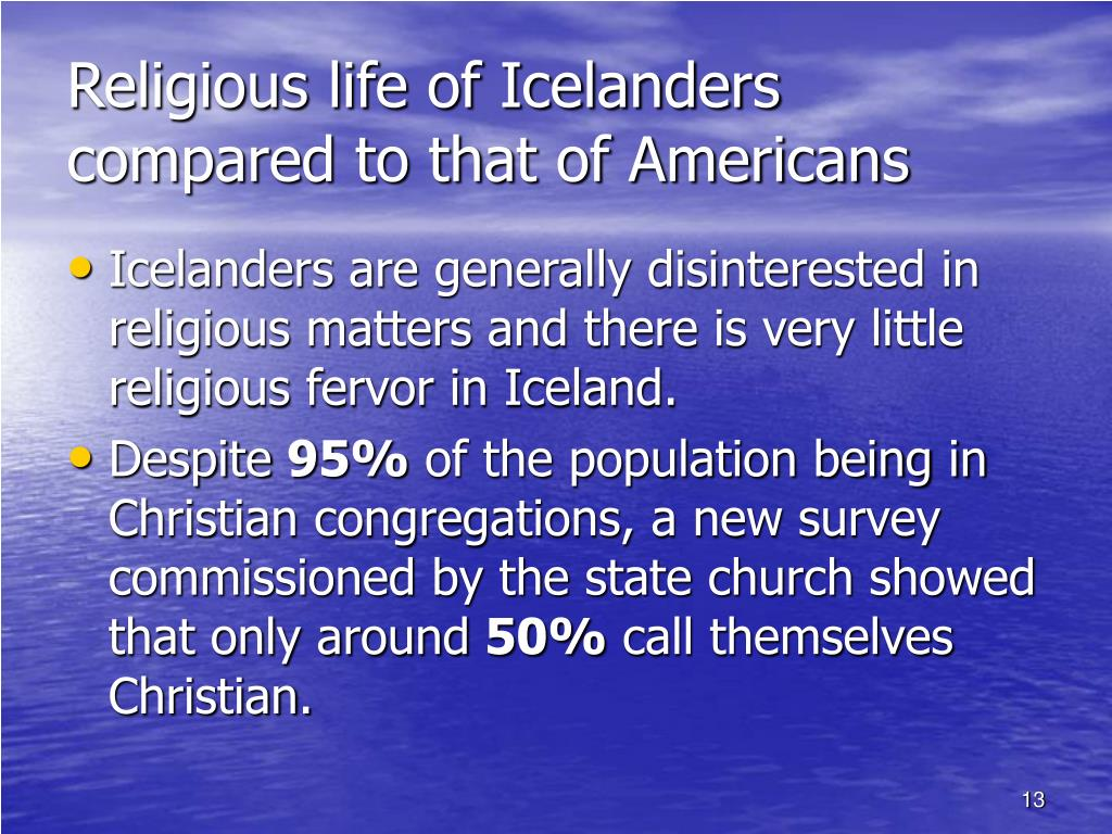 Religious life of Icelanders compared to that of Americans