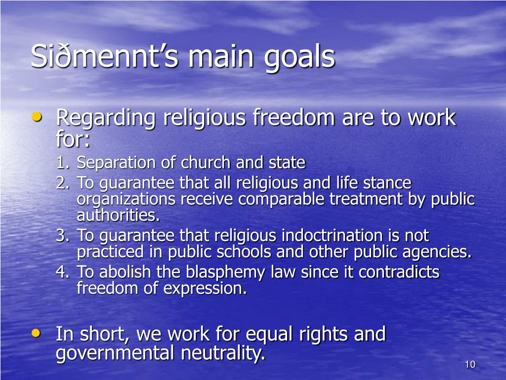 Siðmennt's main goals