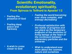 scientific emotionality evolutionary spirituality from spinoza to teilhard to apostel 1 2