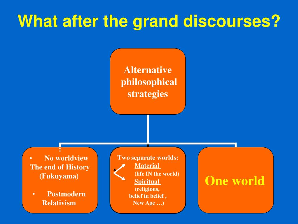 What after the grand discourses?