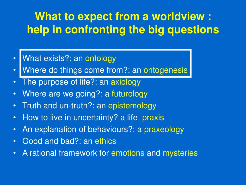 What to expect from a worldview :