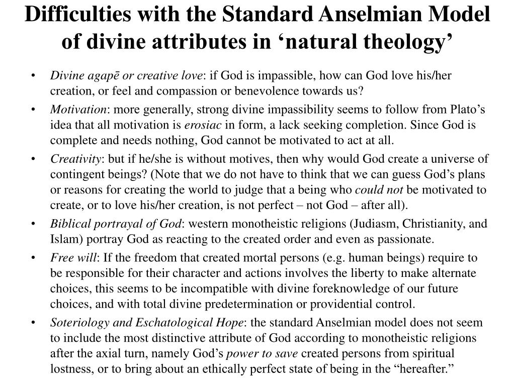 Difficulties with the Standard Anselmian Model of divine attributes in 'natural theology'