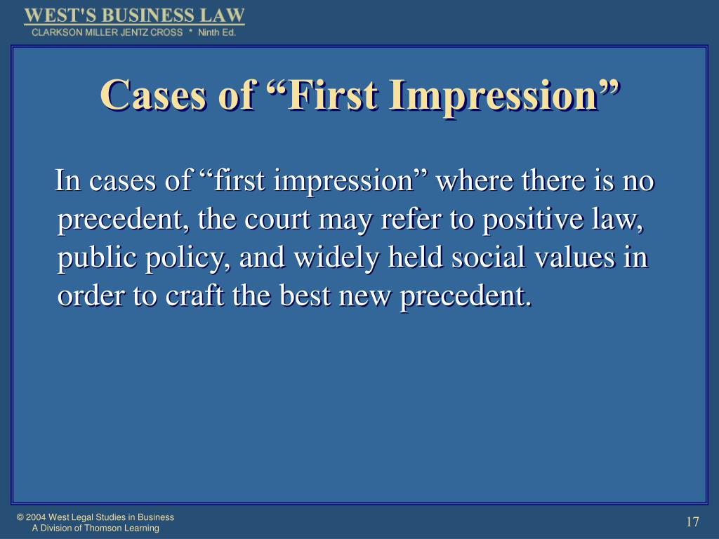 "Cases of ""First Impression"""
