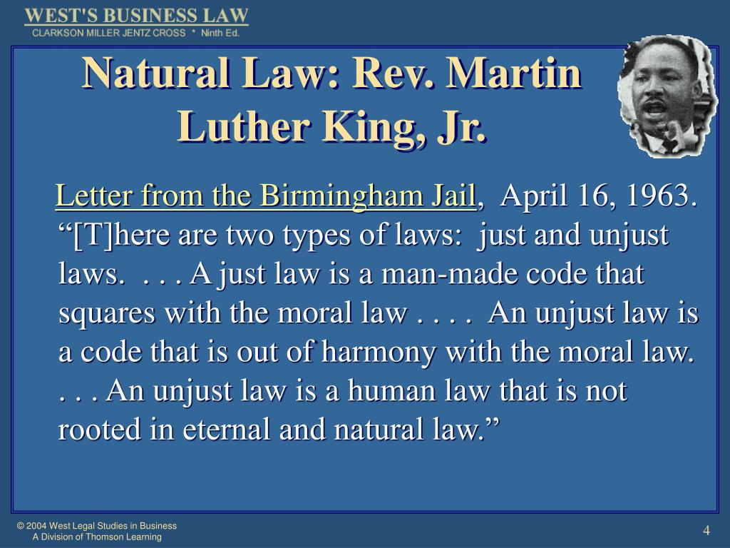 Natural Law: Rev. Martin Luther King, Jr.