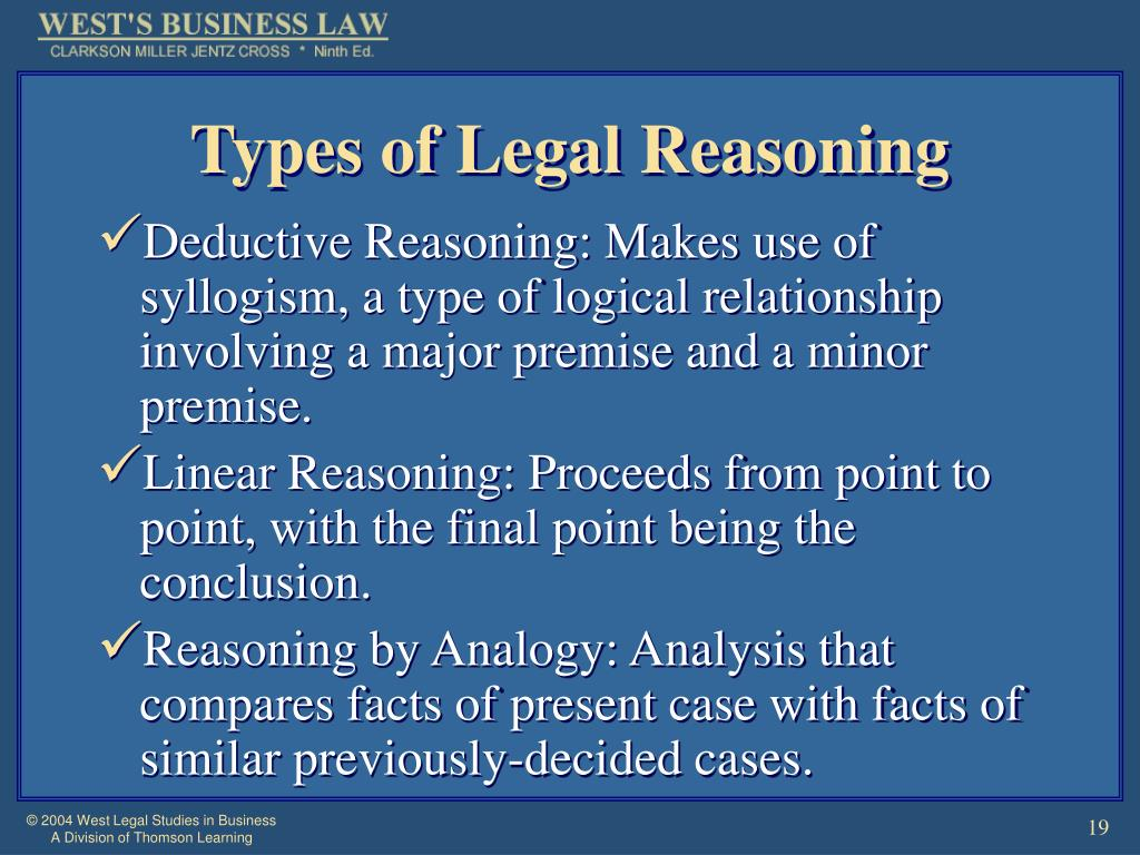 Types of Legal Reasoning
