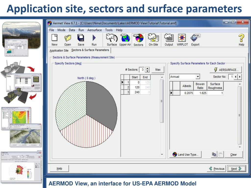 Application site, sectors and surface parameters
