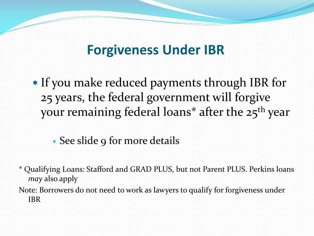 Forgiveness Under IBR
