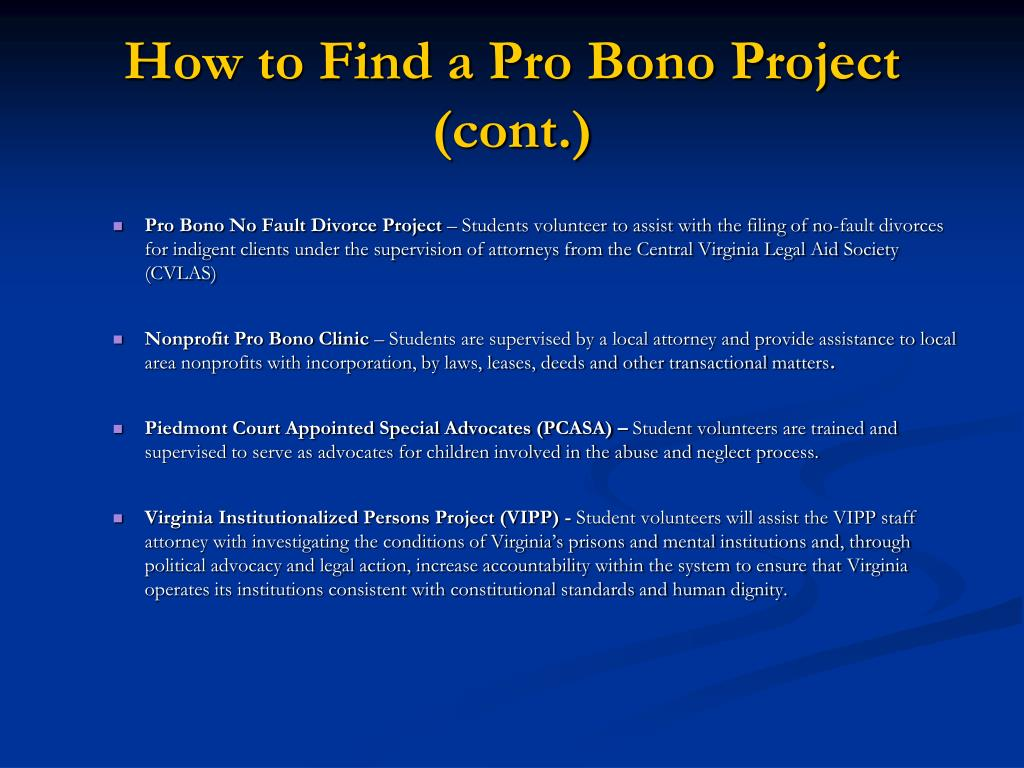How to Find a Pro Bono Project (cont.)