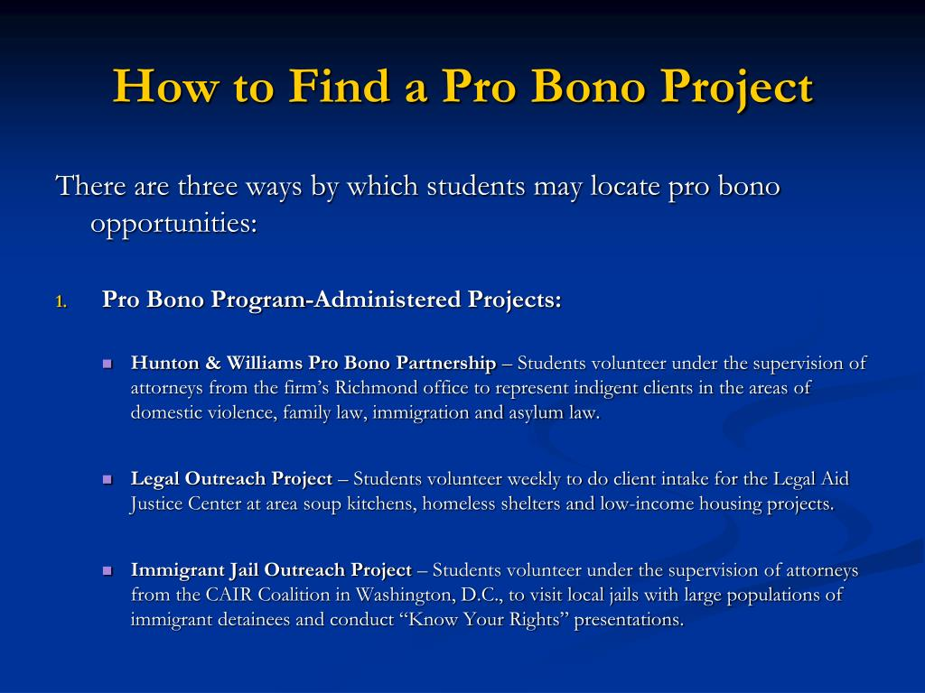 How to Find a Pro Bono Project