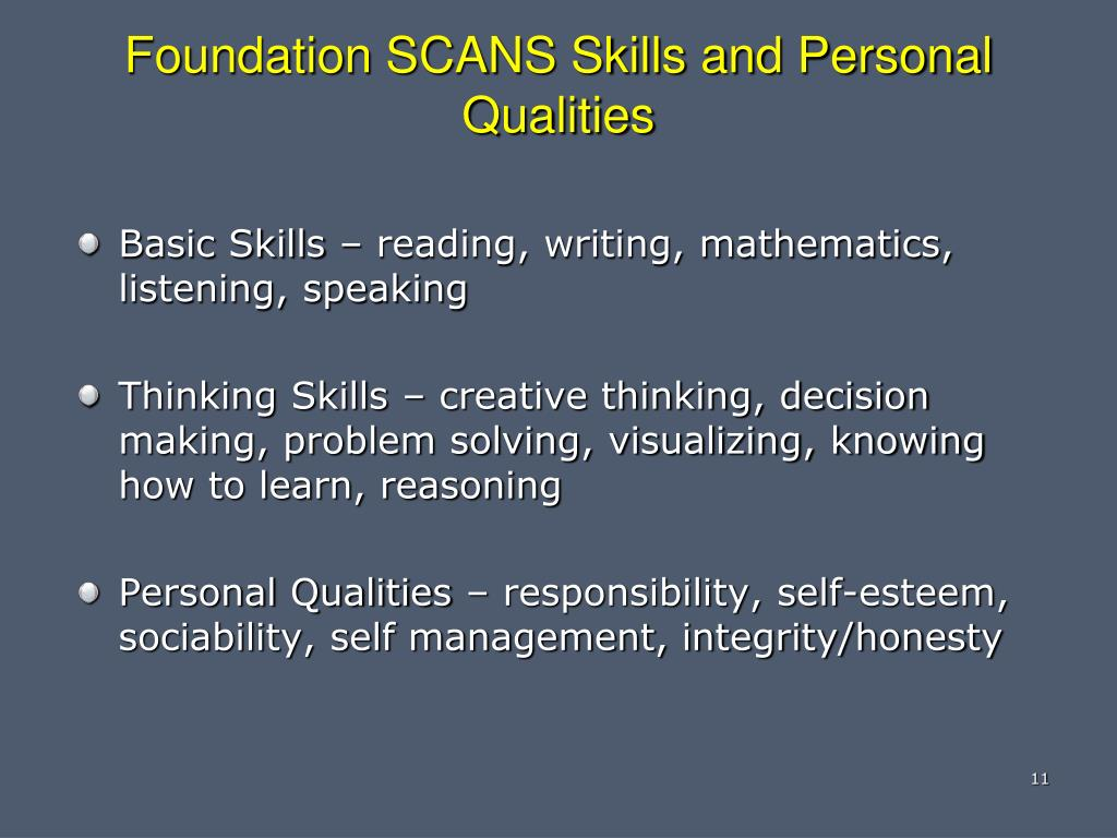 Foundation SCANS Skills and Personal Qualities