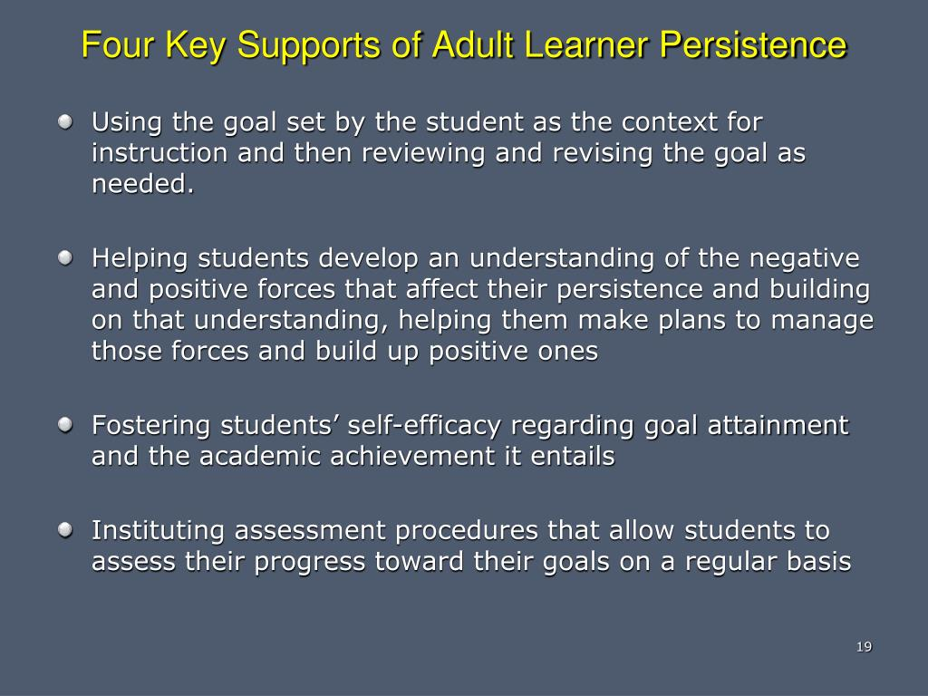 Four Key Supports of Adult Learner Persistence