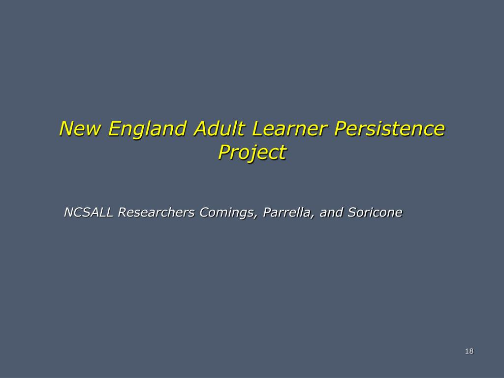 New England Adult Learner Persistence Project