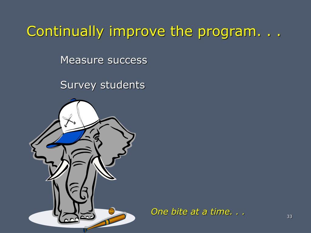 Continually improve the program. . .
