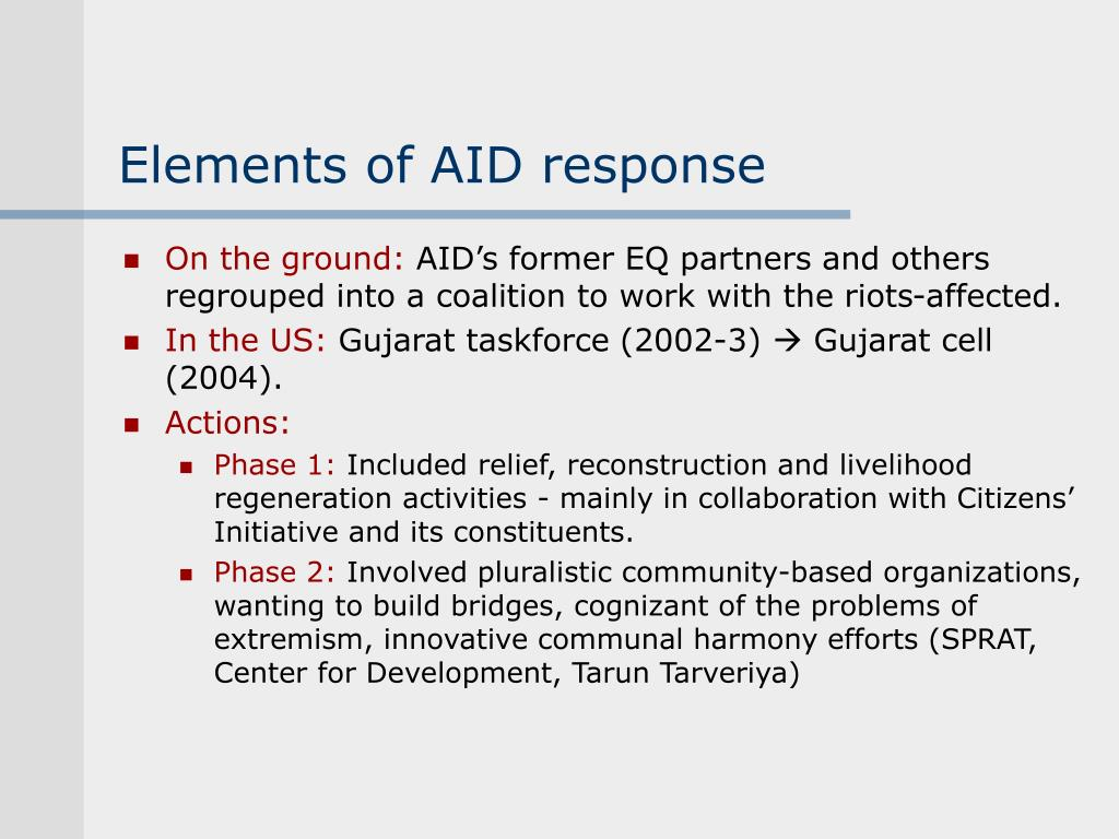 Elements of AID response