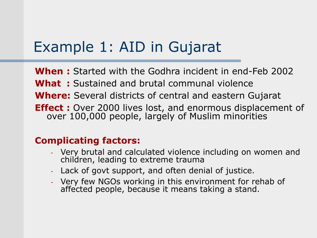 Example 1: AID in Gujarat