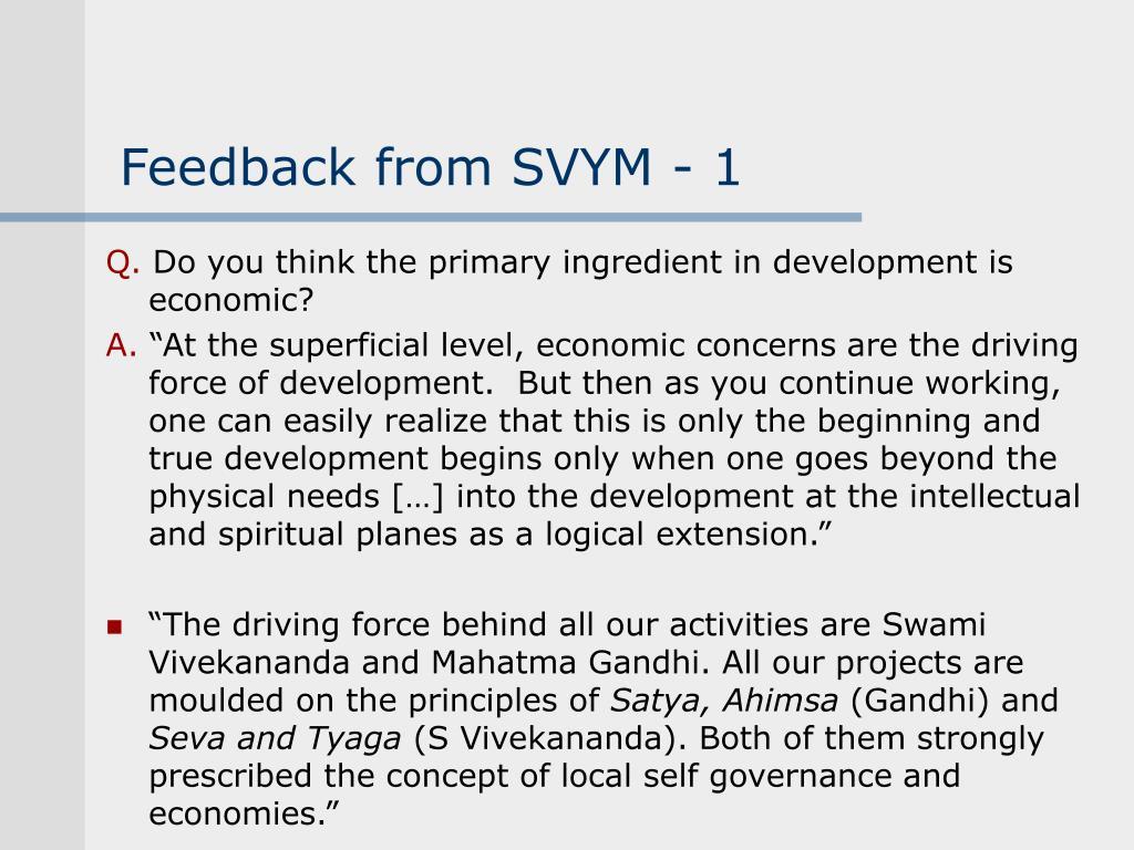 Feedback from SVYM - 1