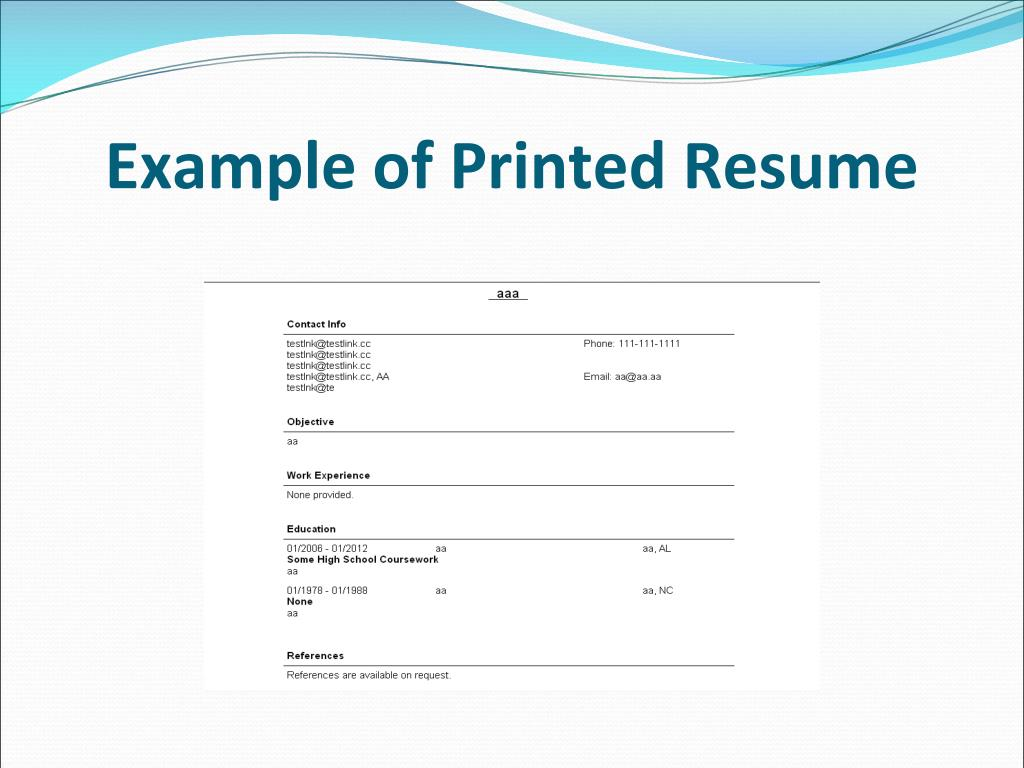 Example of Printed Resume