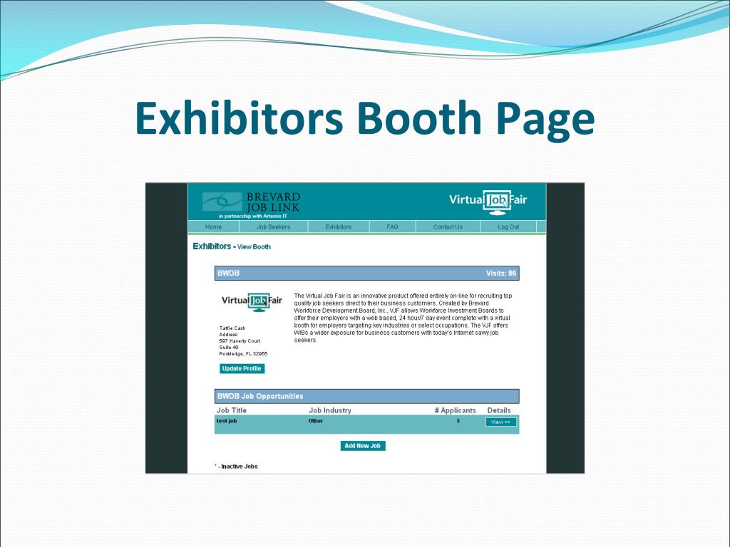 Exhibitors Booth Page