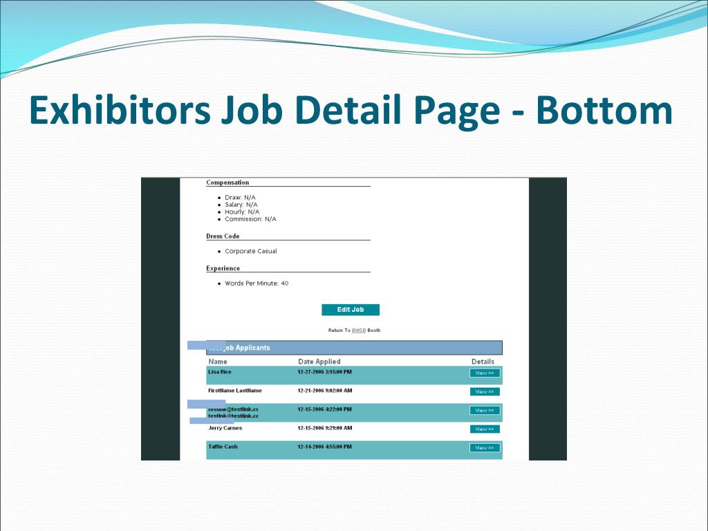 Exhibitors Job Detail Page - Bottom