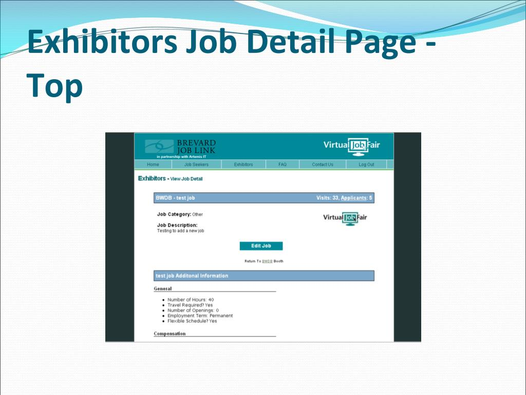 Exhibitors Job Detail Page - Top