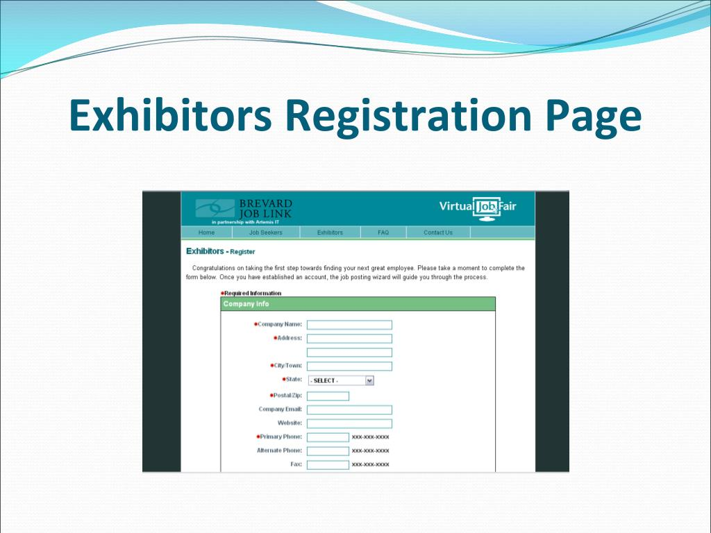 Exhibitors Registration Page