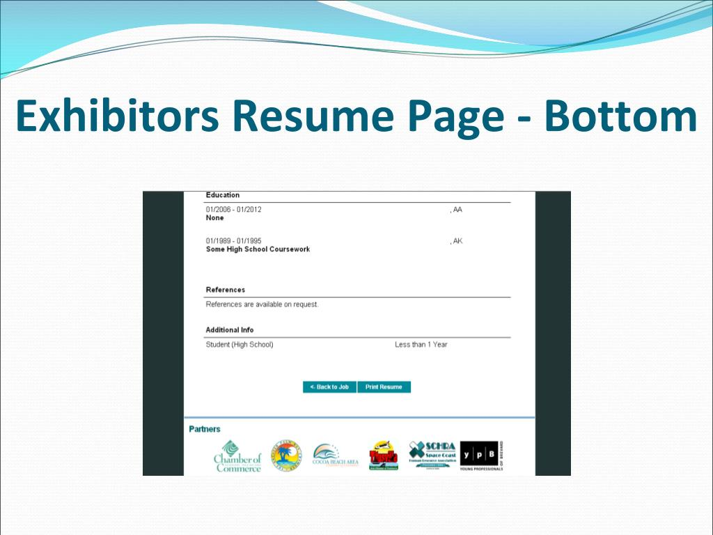 Exhibitors Resume Page - Bottom