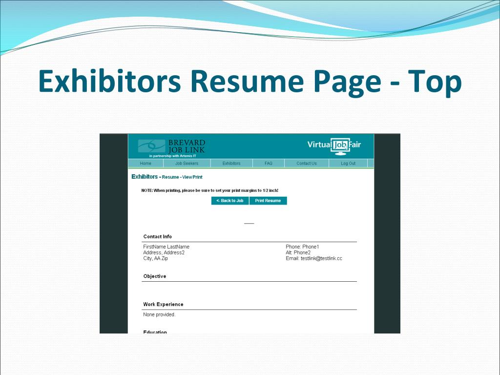 Exhibitors Resume Page - Top